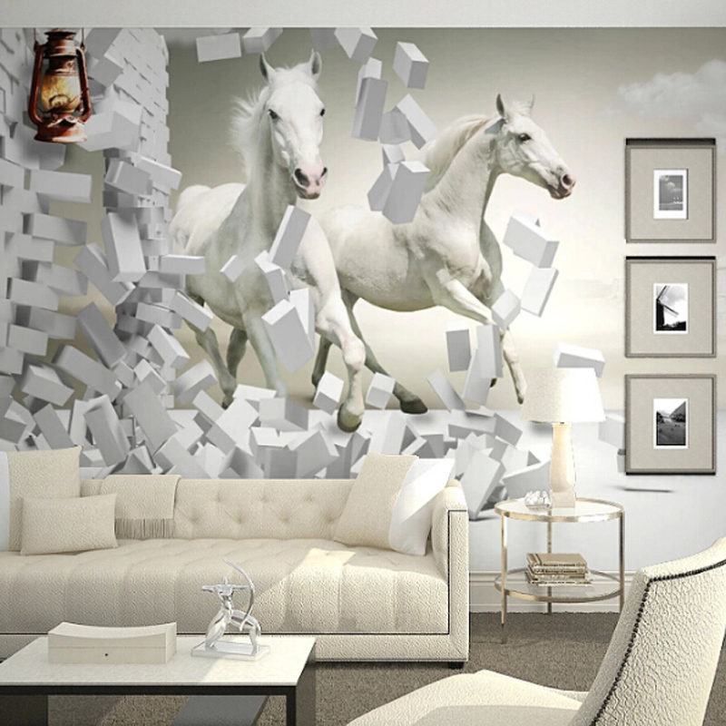 ... Custom Any Size 3D Wall Mural Wallpaper, White Horse Wall Murals  Wallpaper,3d Horse ... Part 51