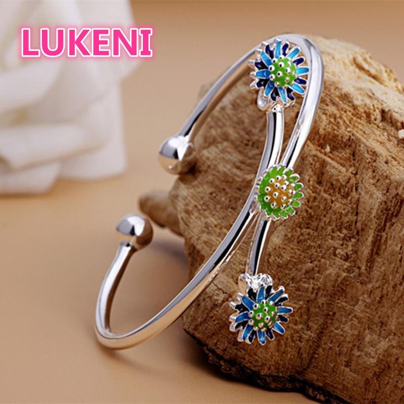 LUKENI Authentic S990 Sterling Silver chrysanthemum adjustable bracelet Bracelets & bangles for women Free shipping D154 lukeni authentic s990 sterling silver hundred blessing word adjustable bracelet bracelets