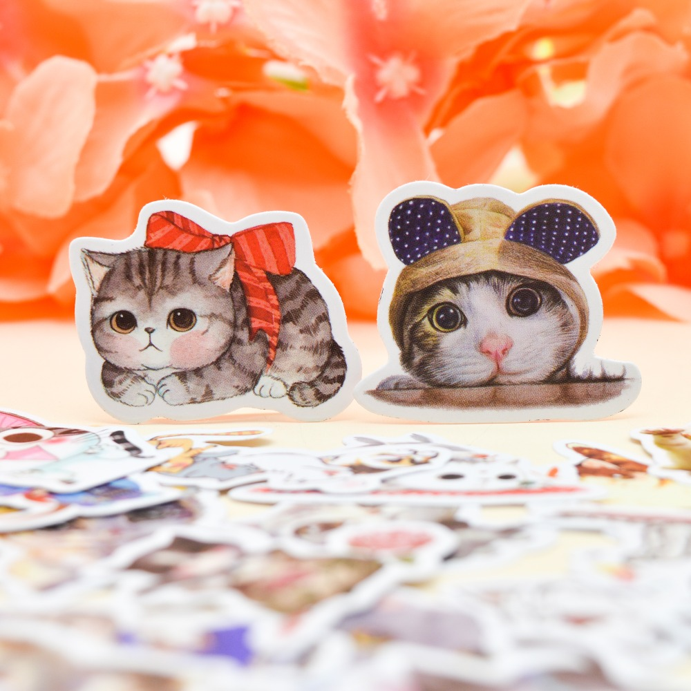30pcs Kawaii Water Color Style Creative Cute Cat Sticker Self-made Animal Paper S/ Girls Notebook