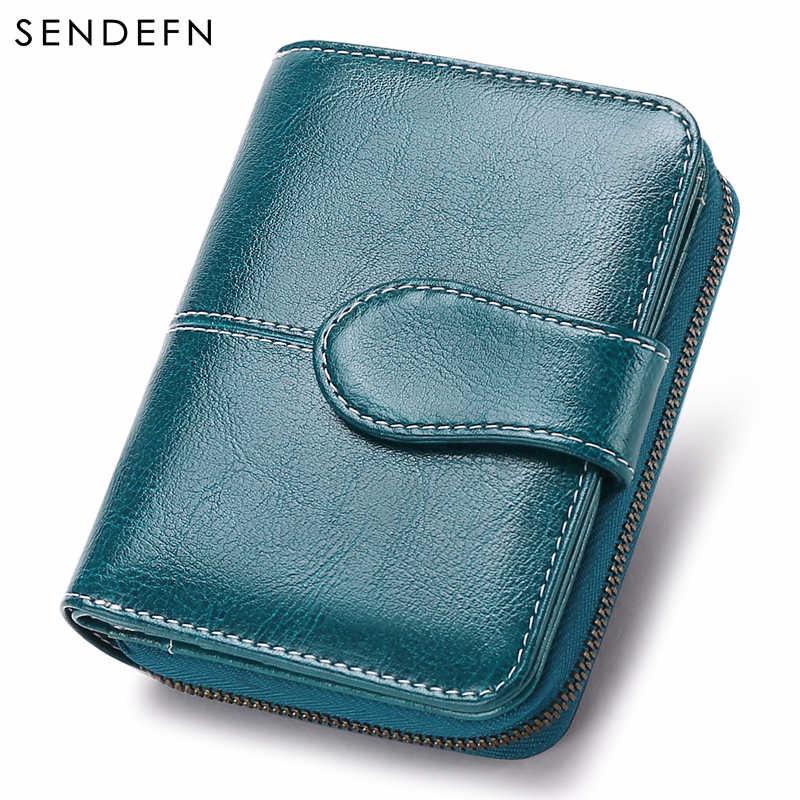 Sendefn New Wallet Women Purse Brand Coin Purse Zipper Wallet Female Short Wallet Women Split Leather Small Purse