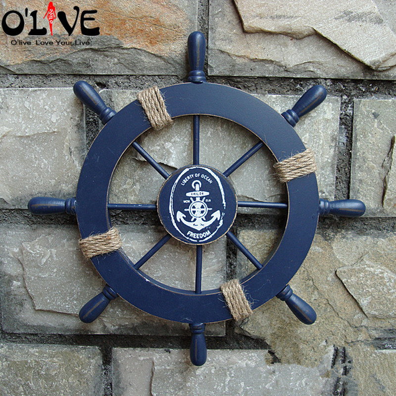 Mediterranean Style <font><b>Nautical</b></font> <font><b>Decor</b></font> Wooden Helm Crafts Vintage <font><b>Home</b></font> <font><b>Decor</b></font> Marine Boat Ship Wheel Hanging Wall Decoration Bar