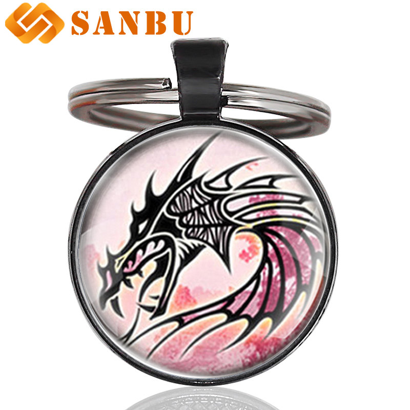 Keychain Dragon cabochon  silver colored base womens men teens