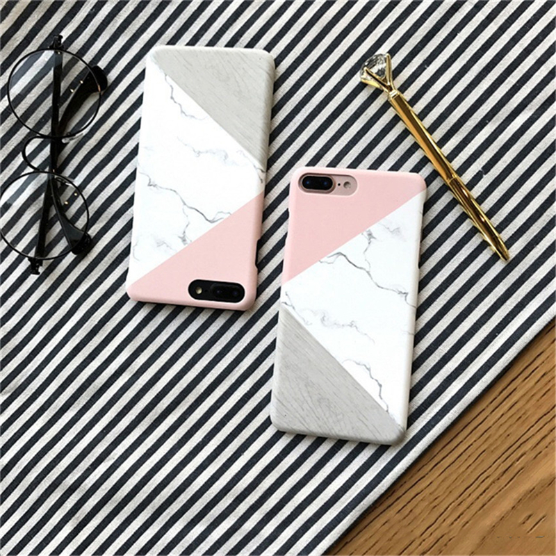 Fashion Capa Geometric Splice Texture Granite Marble Stone Pattern Phone Case Cover For Apple iPhone 6 6s Plus Protective Coque