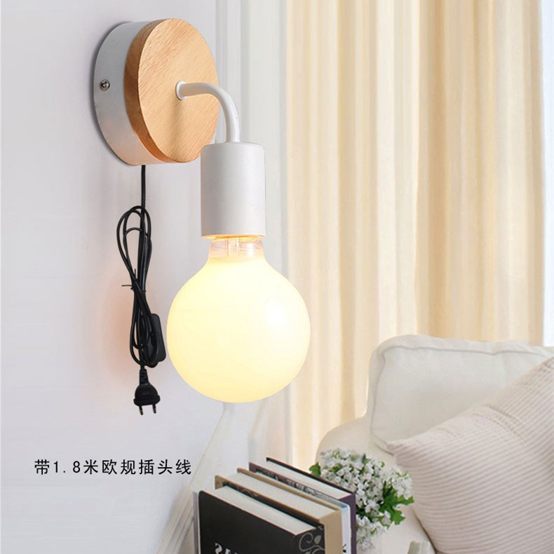 Modern simple iron art led wall light with plug Led Wall Lamp iron Light Bedroom Lighting Living Room Wall Lights E27 ZBD0013