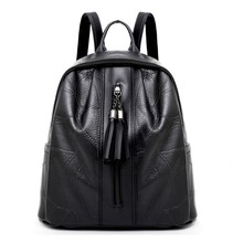 Womens Splice Pattern PU Leather Black Backpack Tassel Women Travel Shoulder Bag Fashion Vintage 2019 New mochila