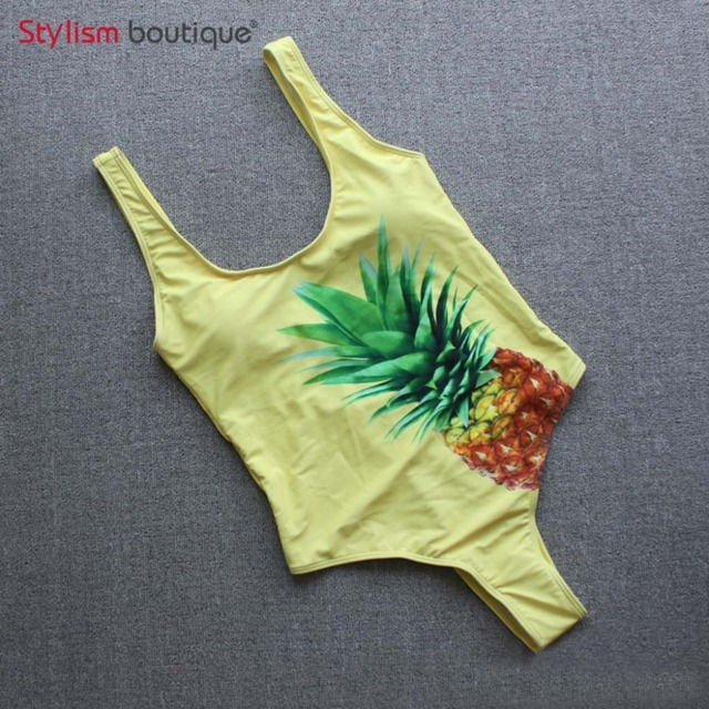 Pineapple Printed One Piece Swimsuit Swimwear Women Swimming Suit for Women Trikini 2018 Sexy Bathing Suit Beachwear