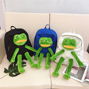 Image 3 - Frog Stereo Doll Backpack Cartoon Girls Canvas Backpack School Bag Kawaii Womens Shoulder Bag Large capacity Travel Bag Women