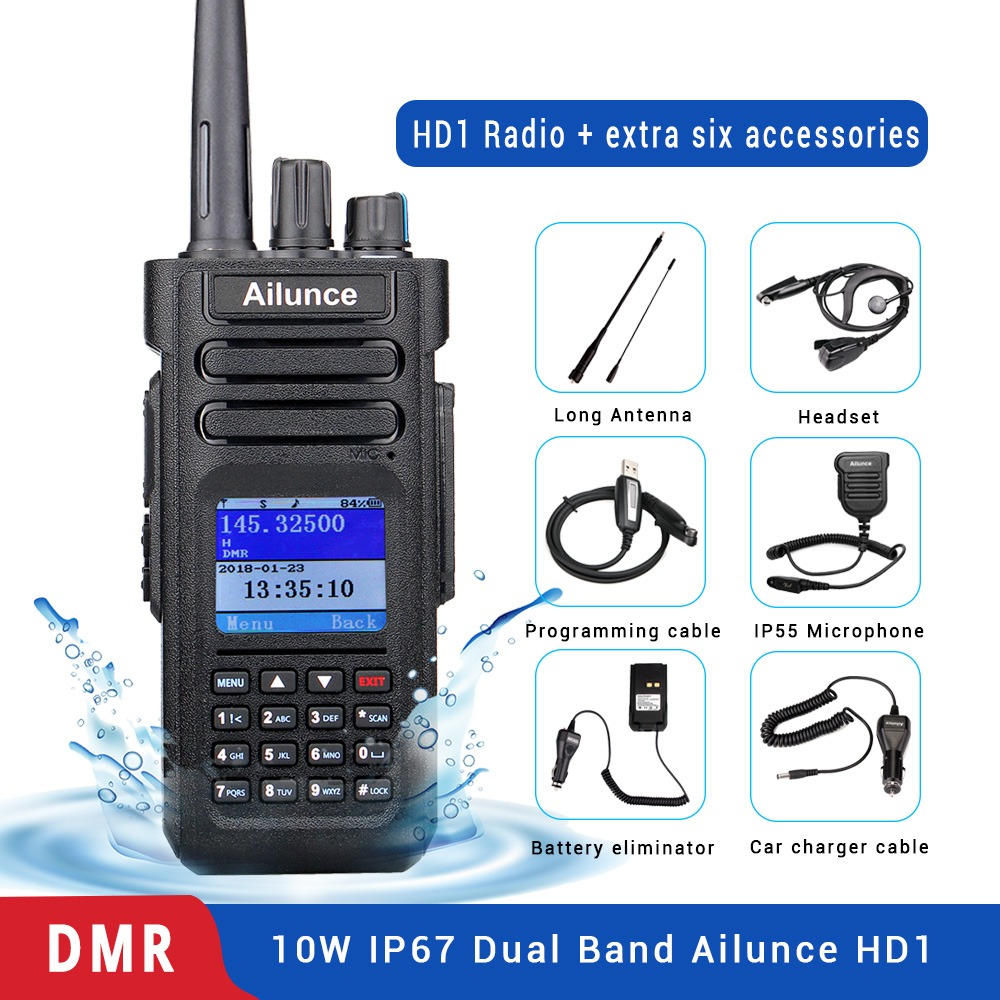 Ailunce HD1 DMR Digital de Banda Dupla Walkie Talkie RETEVIS (GPS) estação de Rádio Amador amador IP67 10 W VHF UHF À Prova D' Água + Acessórios