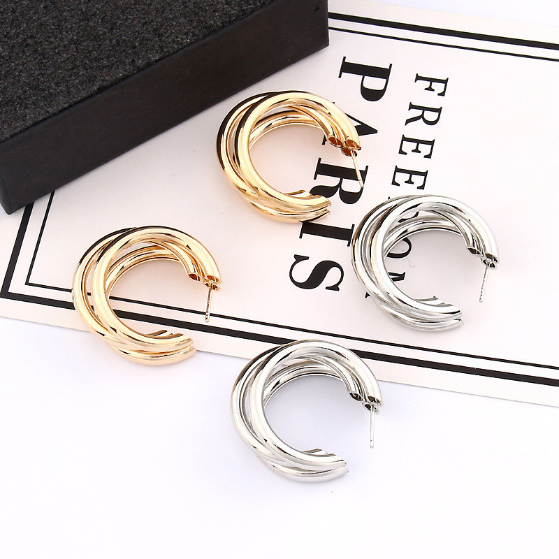 HTB1KxajacnrK1RjSspkq6yuvXXa3 - Trendy Fashion Metal Elegant Hoop Earring Woman 2019 New Vintage Gold Color Cheap korean Statement Earrings Accessories brincos