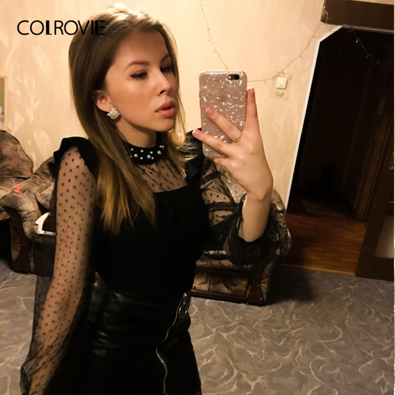 82c457f6d5 COLROVIE Black Dot Sheer Mesh Pearl Beads Elegant Blouse Women Clothing 2019  Long Sleeve Shirt Office Ladies Tops And Blouses for sale in Pakistan