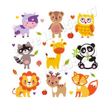 9Pcs/Lot Cartoon Animal Stickers Boys Girls Clothes Decoration A-Level Washable Diy Accessory Parches Heat Transfer