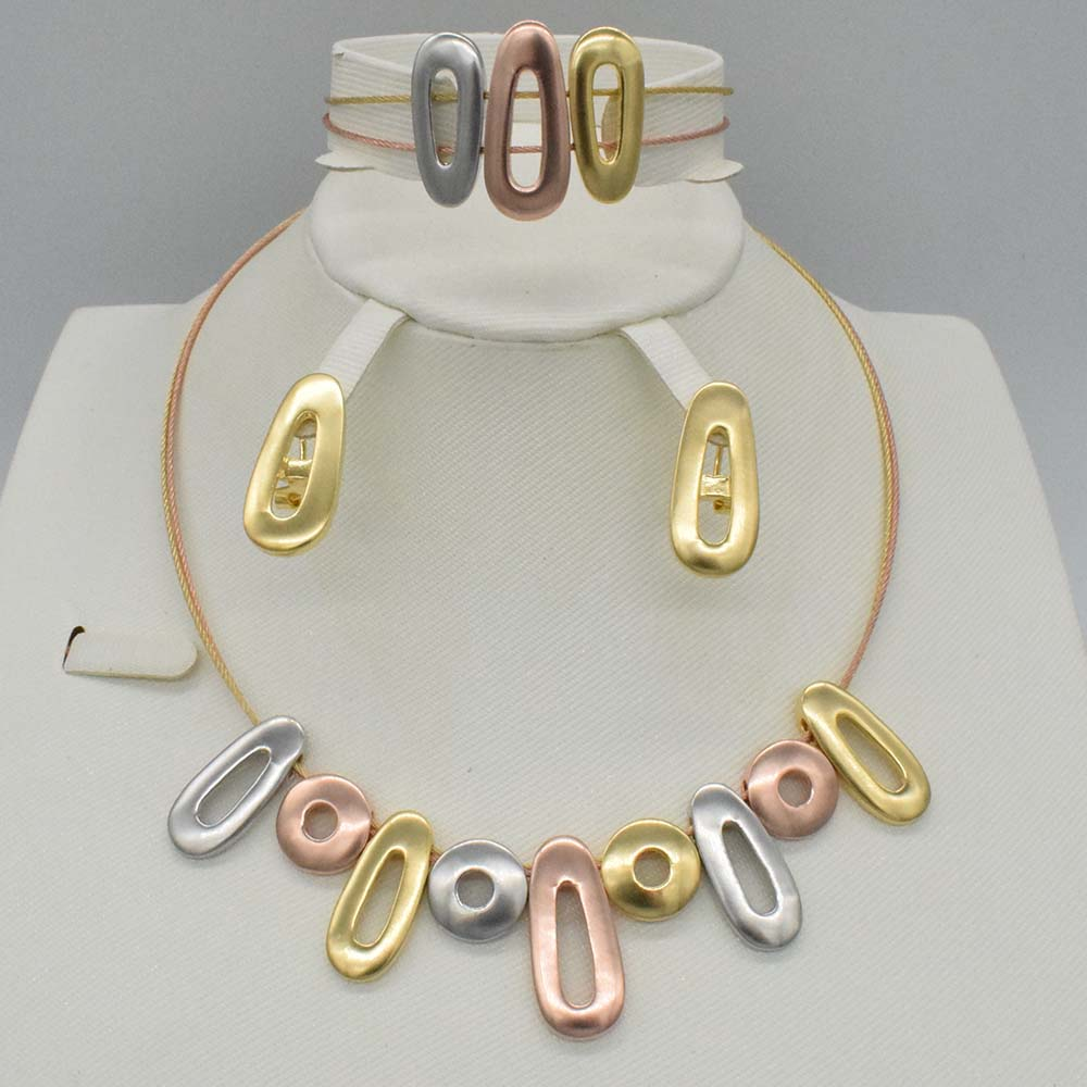 High Quality Silver Rose Gold Three Tone Jewellery Fashion dubai gold necklace Earrings Bracelet Set african beads jewelry set