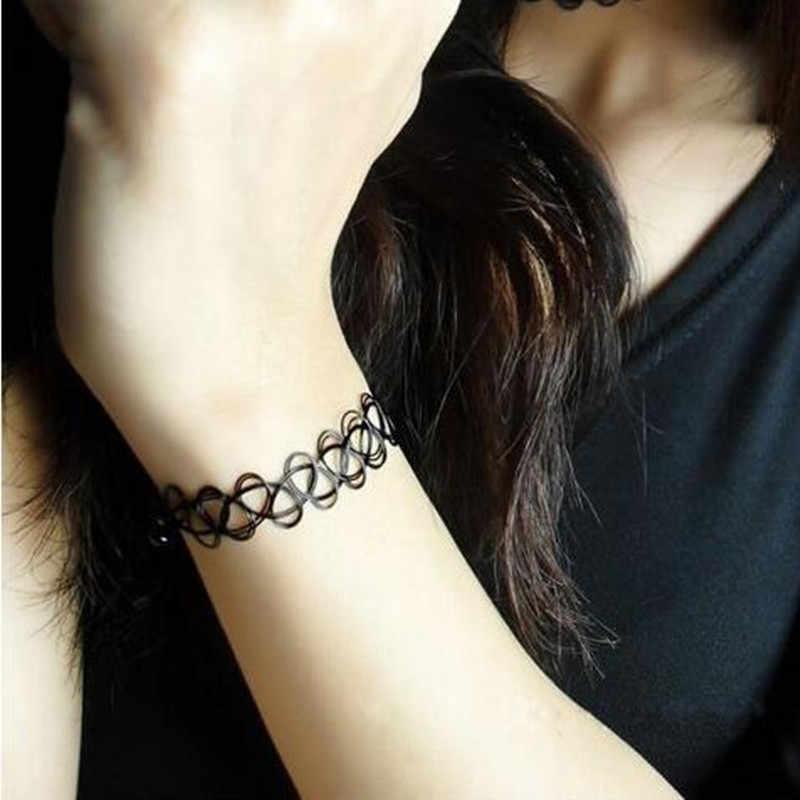 L125 بيجو خمر القوطية الأزياء تاتو/وشم أسود اللون الجوف الإسورة للنساء سحر أساور مجوهرات الزفاف الشرير بيان مرونة
