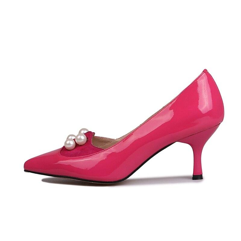 Bout pink Femmes Slip Perles Peu Talons on Black Chaîne Profonde Zyl859 2018 Pompes Hauts À Solide Dame Mode Souliers Nouveauté Enmayer De Pointu hBxtQdCsr