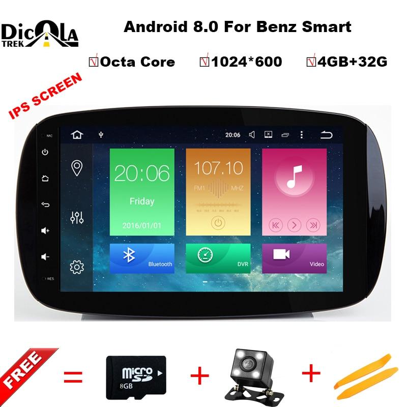 Octa Core 4 + 32g Android 8.0 Voiture Dvd Navi Lecteur POUR BENZ SMART (2015-2017) audio multimédia auto stéréo soutien DVR WIFI DAB OBD
