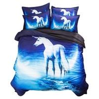 3D Unicorn Cartoon Printing Bedding Set Flower Bed Linen 4pcs/set Duvet Cover Set Pastoral Bed Sheet AB Side Duvet Cover