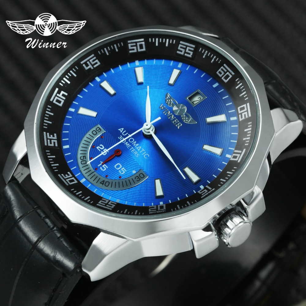 Fashion Business Mens Automatic Watches WINNER Brand Male Mechanical Wristwatches Leather Strap Calendar Date 7 Color +GIFT BOXFashion Business Mens Automatic Watches WINNER Brand Male Mechanical Wristwatches Leather Strap Calendar Date 7 Color +GIFT BOX