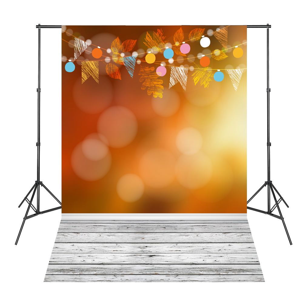 Photography Fantasy Leaves Orange White Wood Board Baby Shower Backdrop Background Fond Studio Photo Vinyle 5x7ft white backdrop board photo background photography white studio cloth flower rattan corridor