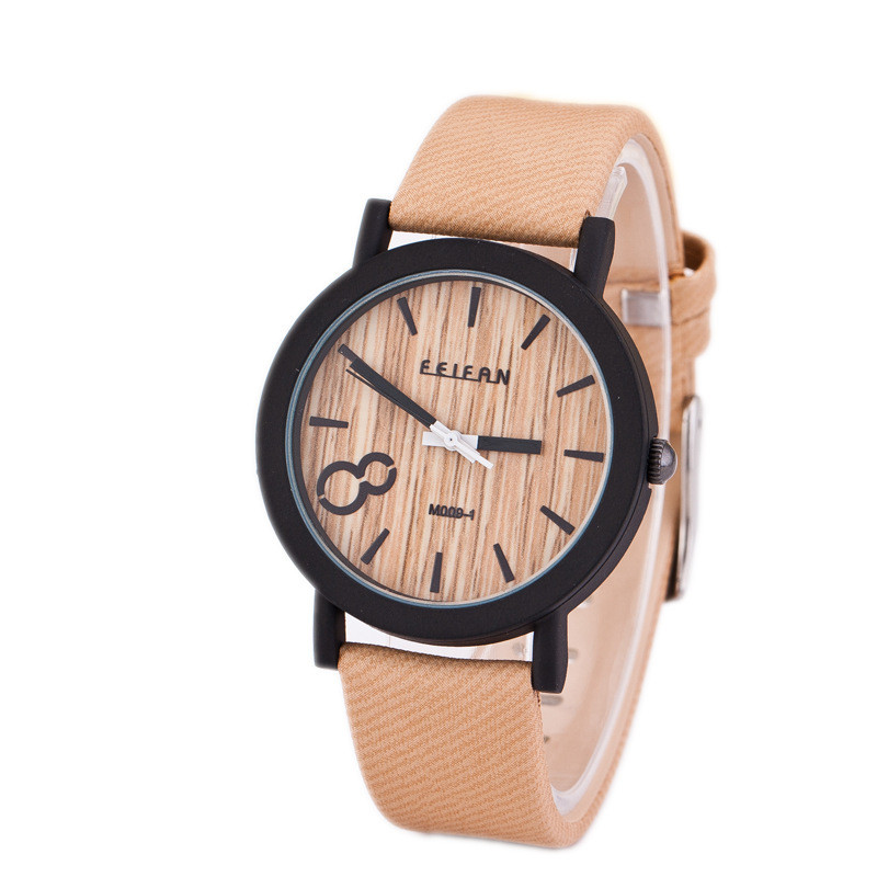 2018 new product recommended imitation wooden quartz female leisure Color Leather Strap Watch 5