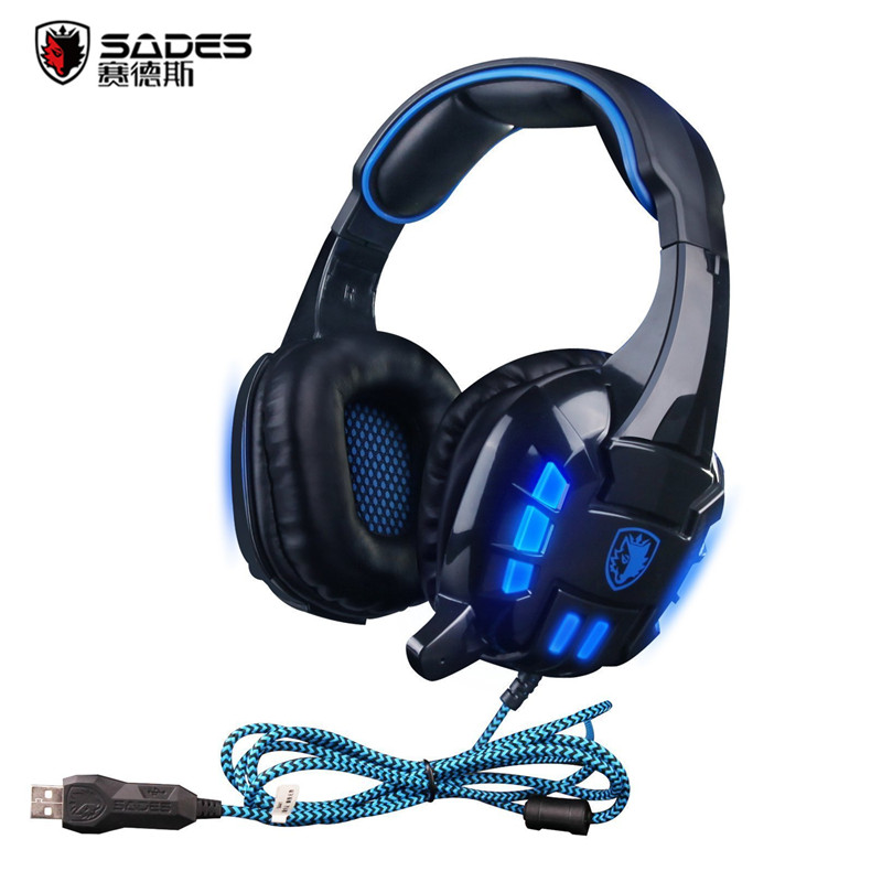 SADES SA718S Noise Isolation Super Bass Stereo Headset PC Gamer Gaming Headphone with Mic USB LED aliexpress com buy sades sa718s noise isolation super bass Headphone with Mic Wiring Diagram at creativeand.co