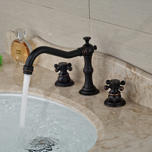 Oil Rubbed Bronze Double Handles Basin Mixer Faucet Tap Deck Mount 3 Hole Bathroom Hot Cold