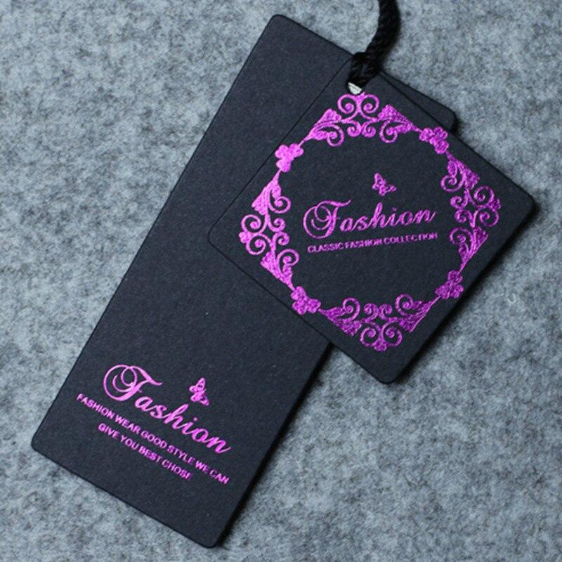 Custom price paper tags purple foil print swing Hang tag dress