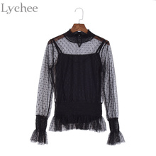 Lychee Spring Women Blouse Cami Two Pieces Set Through Polka Dot Mesh Stand Collar Long Sleeve