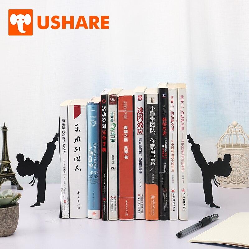 USHARE Creative Kungfu Design Bookends For Shelves Retractable Metal Adjustable Book Shelf Holder For Kids Desk Organizer Gifts