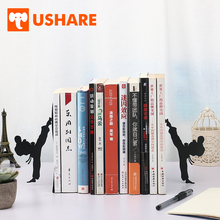 USHARE Creative Kungfu Design Bookends For Shelves Retractable Metal Adjustable Book Shelf Holder For Kids Desk Organizer Gifts creative 1 pair wooden bookends with pen holder kawaii bookshelf retractable bookstore shelves book office stationery supplies