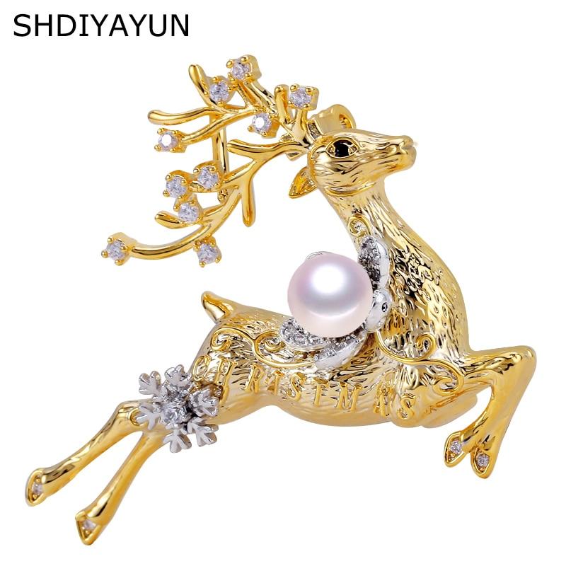 SHDIYAYUN Pearl-Brooch Fine-Jewelry Natural-Freshwater-Pearl Women for Elk Pins Christmas-Gift