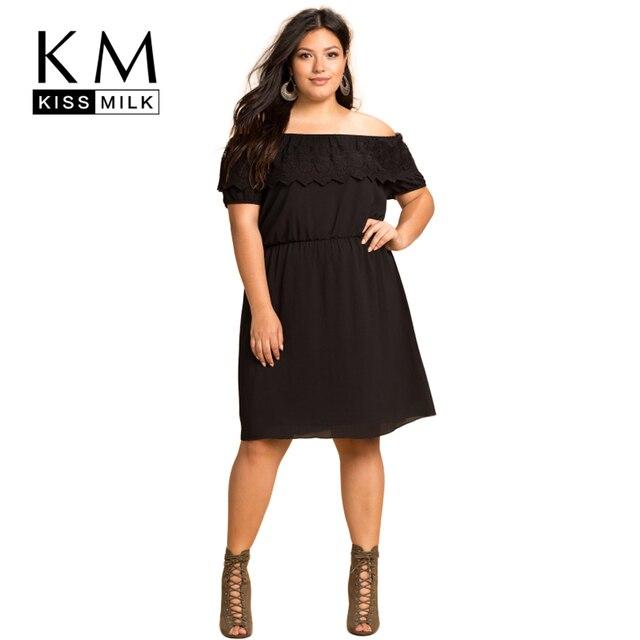 Kissmilk плюс размер женская одежда повседневная кружева слэш шеи dress casual с плеча дамы dress большой размер женщина dress vestido