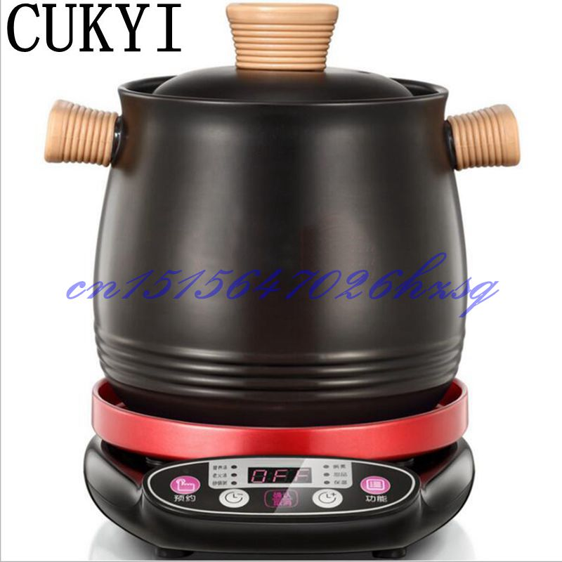 CUKYI Household 3.0L Electric Multifunctional cooker Microcomputer Stew soup timing ceramic porridge pot 500W Black cukyi automatic electric slow cookers purple sand household pot high quality steam stew ceramic pot 4l capacity