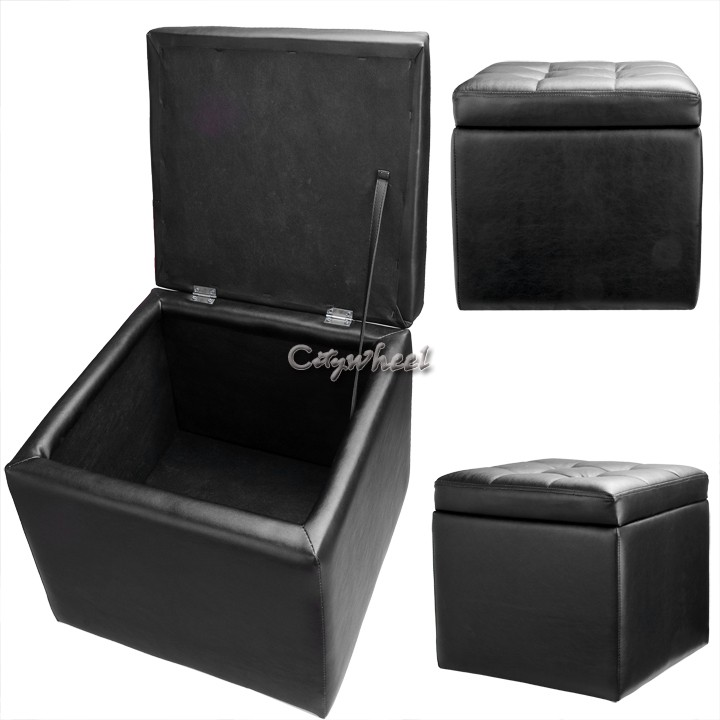 Multi Function Ottoman Storage Box Black Folding Stool Changing Can