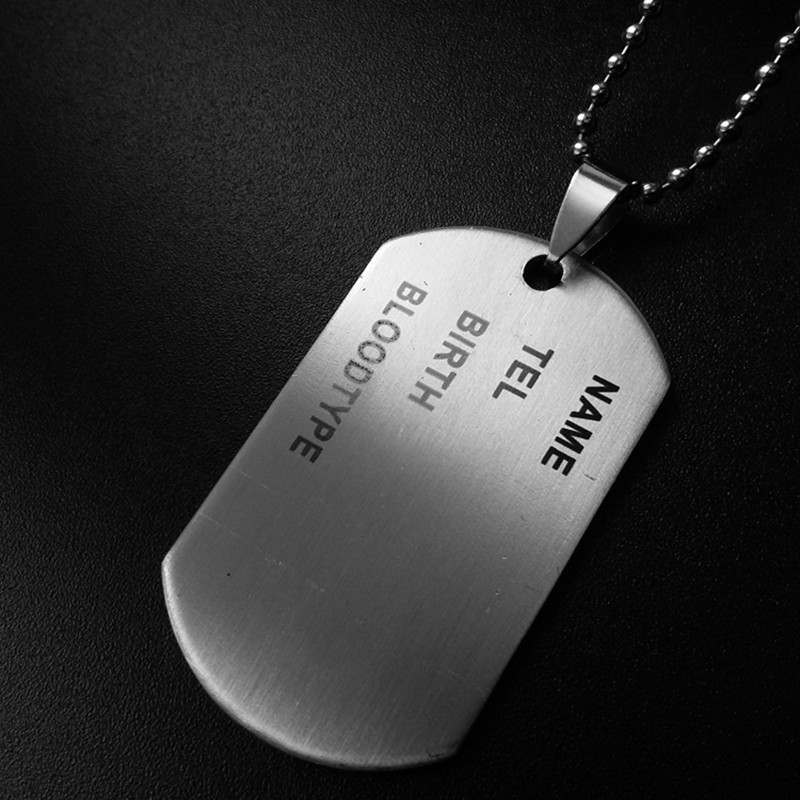 Dog Tags Army Nameplate Mens Necklace