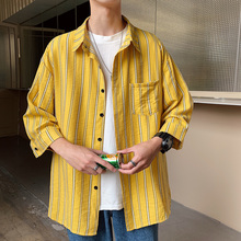 2019 Short Sleeve Stripe men Shirt Casual Male camisa hombre brand-clothing 5XL