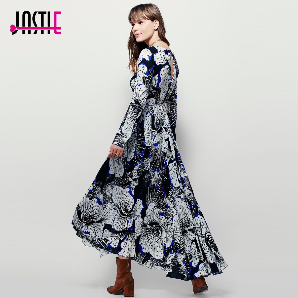 Jastie Long-Sleeve Floral Printed Maxi Dress Button Back Closure And Keyhole Opening At Top Of Back O-Neck Bohe Dresses Vestidos