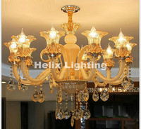 10L D88cm H65cm LED Crystal Chandeliers Moderne Kronleuchter Aus Kristall Suppliers Coffee Crystal Lamp Dining Room Chandelier