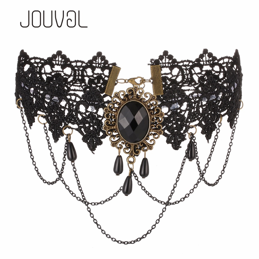 2017 Sexy Gothic Chokers Black Lace Collar Neck Choker Necklace Vintage Victorian Women Chocker Steampunk Jewelry
