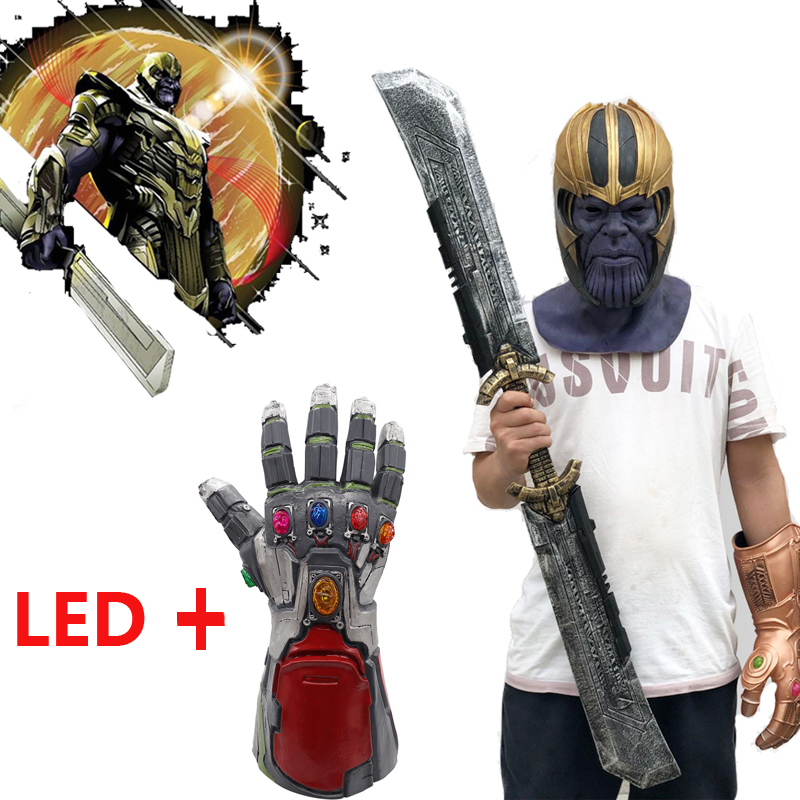Endgame Accessories Halloween Thanos Mask Cosplay Props Latex Led Glove Full Face Helmet Women Men Avengers4 Costumes & Accessories Novelty & Special Use