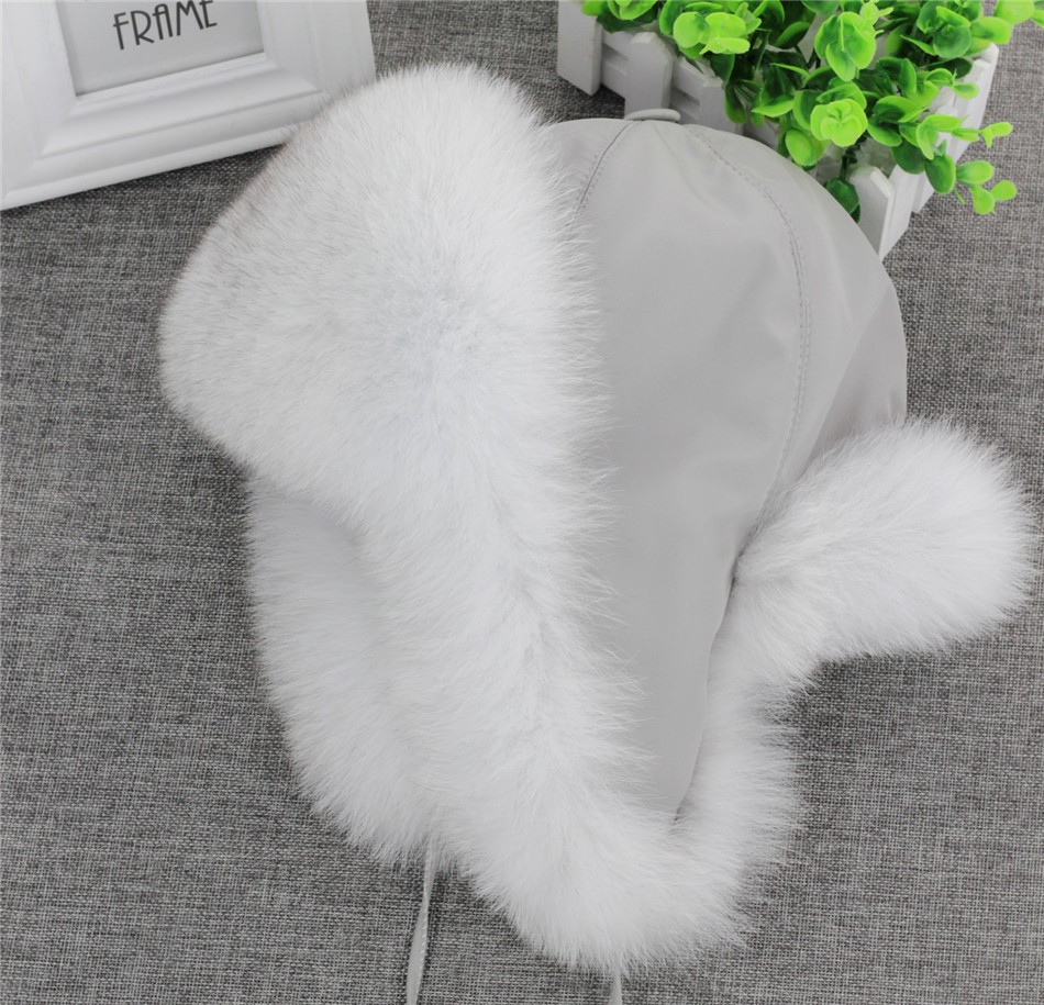 On Sale 100% Real Fox fur Women's Russian Ushanka Aviator trapper snow skiing Hat caps earflap winter raccoon fur Bomber hat 11