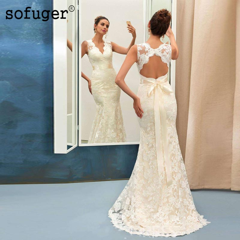 Sexy Long V Neck Lace Backless Mermaid Sashes Bow Weddding Dresses Bridal Gown Vestidos De Noivas Custom