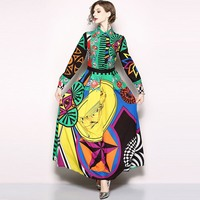 Bohemian Big Swing Maxi Dresses Women 2018 New Fall Colorful Print Button Ladylike Elegant Vocation Trendy Boho Satin Long Dress