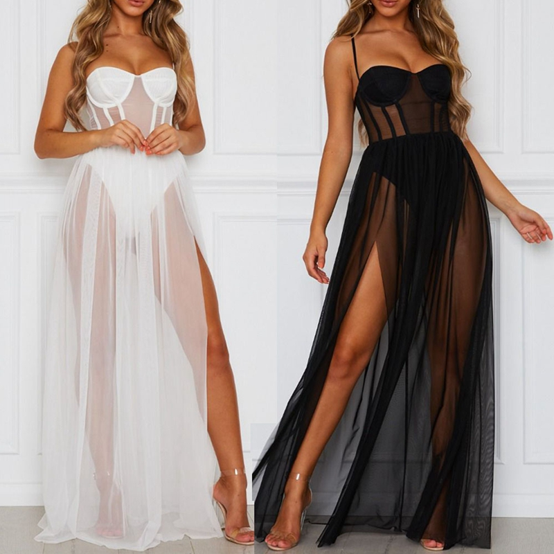 Summer Women Mesh Gauze Long Dress Sexy Strappy Rompers Sundress One Piece Perspective Sleeveless Backless Bathing Beach Clothe