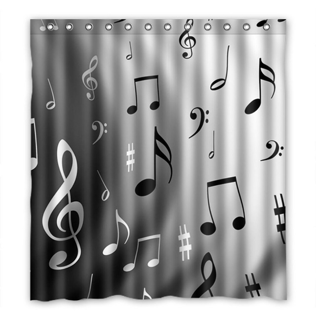 bathroom shower curtains gorillaz music lovers musical notes 180x180cm eco friendly waterproof fabric shower curtain - Musical Shower Curtains