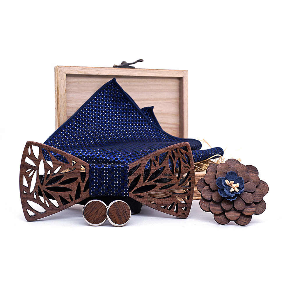 eb374582c961 Wooden Bow Tie Handkerchief Set Men's Plaid Bowtie Wood Hollow carved cut  out Floral design And