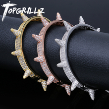 TOPGRILLZ Iced Out Spikes Bangles Rivet Cone Stud Cuff Twist Thorns Bracelets Cubic Zirconia Bling Bling AAA Hip Hop  Jewelry