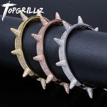 Topgrillzアイスアウトスパイク腕輪リベットコーンスタッド袖口ツイストいばらブレスレットキュービックジルコニアケバケバaaaヒップホップジュエリー