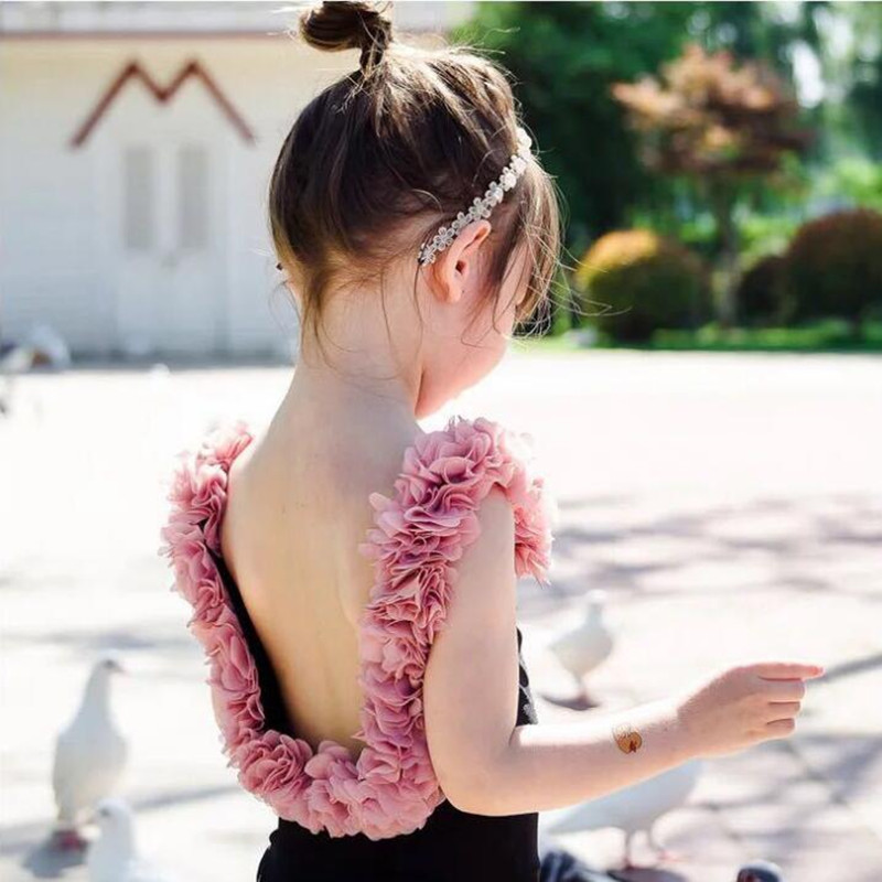 Fashion Children Backless Bikini New Kids 3d Flower Ruffled Swimsuit Cute Baby Girls One-piece Swimwear Bathing Suit Yz19025 Moderate Price Swimwear