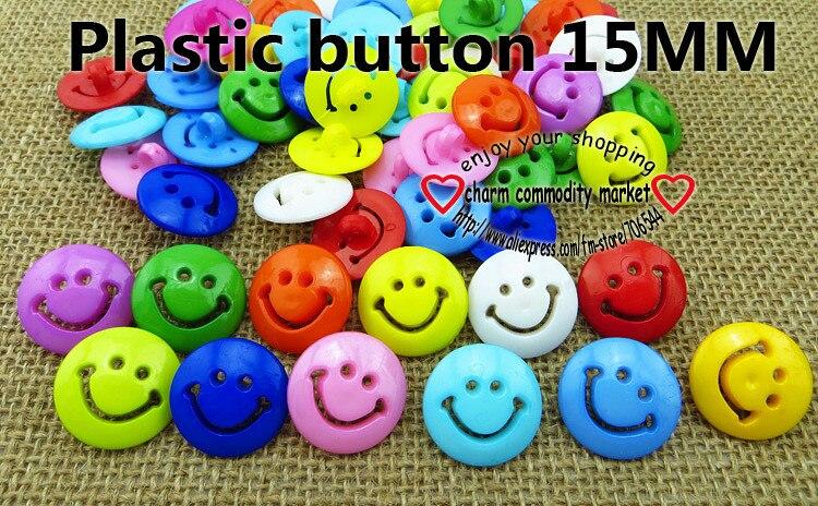 100 unids 15mm Colores solo teñido plástico sonrisa cara botones cubren la  ropa de costura accesorio P-116 7a1e1484f5252