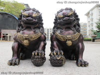 animal head real pure Brass statues Red Copper Evil Guardian sculpture for home Door Fu Foo Dog Lion Pair Garden Decoration